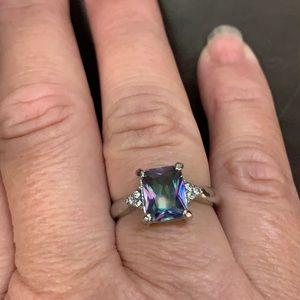 New! Princess Cut Mystic Rainbow Topaz Ring